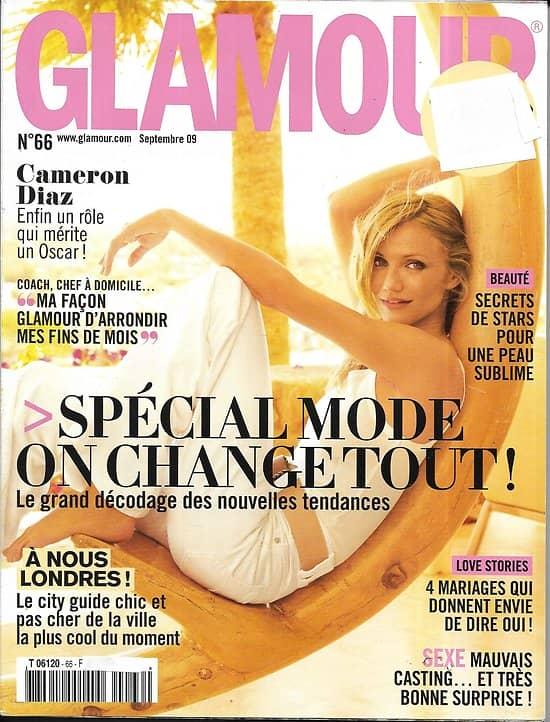 GLAMOUR n°66 septembre 2009  Cameron Diaz/ Spécial mode/ A nous Londres/ JP Gaultier