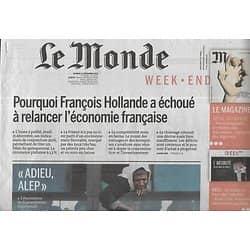 LE MONDE n°22372 17/12/2016  Adieu Alep/ Primaire: Valls/ Fessenheim/ Affaire Tapie/ Cyclisme
