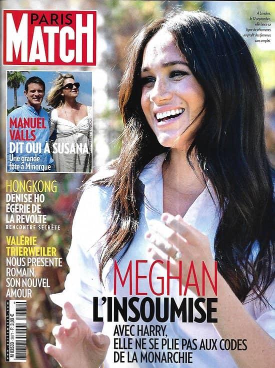 PARIS MATCH n°3671 19/09/2019  Meghan Markle/ Manuel Valls/ Révolte à Hongkong/ Sharon Stone/ Histoire de France en couleurs