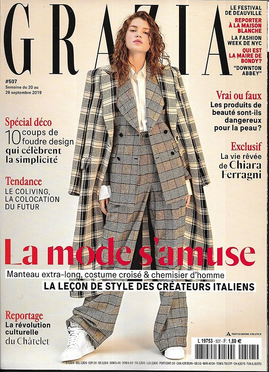 GRAZIA n°507 20/09/2019  Leçon de style italienne/ Chiara Ferragni/ Spécial déco/ Downton Abbey/ Coliving/ Festival de Deauville