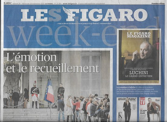 LE FIGARO n°23365 29/09/2019  Hommage à Jacques Chirac/ Sebastian Kurz/ Feux de forêt/ Informatique quantique/ Feydeau