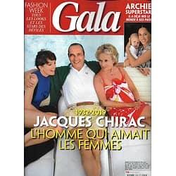 GALA n°1373 03/10/2019  Jacques Chirac, l'homme qui aimait les femmes/ Archie superstar/ Aznavour/ Michalak/ Chiara Mastroianni/ Sonia Rolland