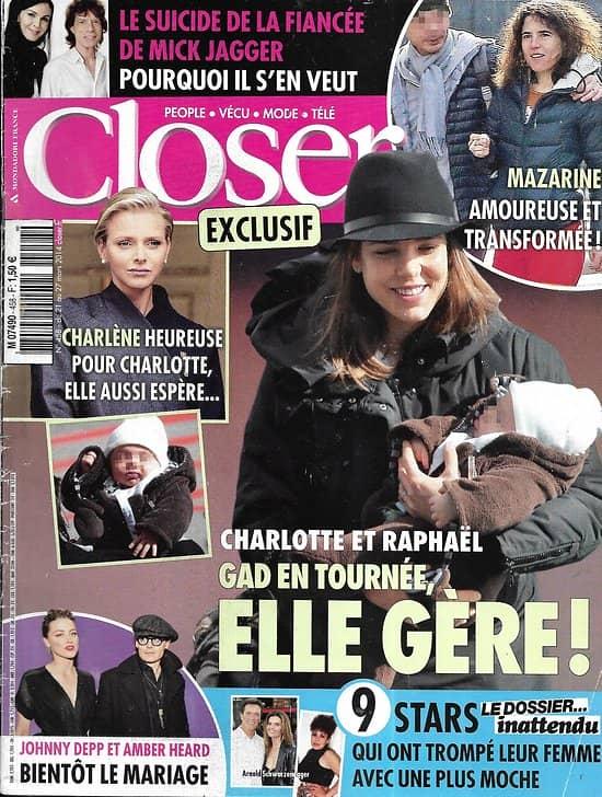 CLOSER n°458 21/03/2014  Charlotte Casiraghi/ Johnny Depp/ Mick Jagger/ Mazarine Pingeot/ Charlène de Monaco