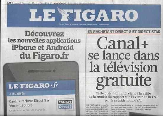 LE FIGARO n°20871 09/09/2011  11 Septembre, 10 ans après/ Coupe du monde de Rugby: XV de France/ Canal+