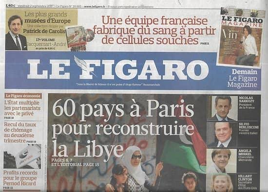 """LE FIGARO n°20865 02/09/2011  Reconstruire la Libye/ Guerre des prix dans le mobile/ """"Carnage"""" de Polanski"""