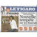 """LE FIGARO n°20866 03/09/2011  Tempête sur les Bourses/ Guerre en Syrie/ """"J'adore"""" de Dior"""