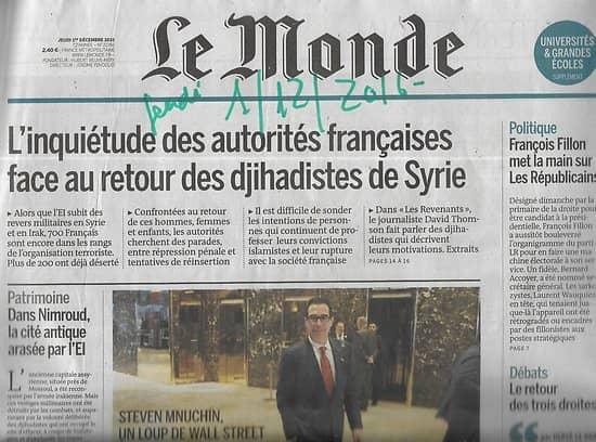 LE MONDE n°22358 01/12/2016  Le retour des djihadistes/ Le pilote Sullenberger/ Site de Nimroud