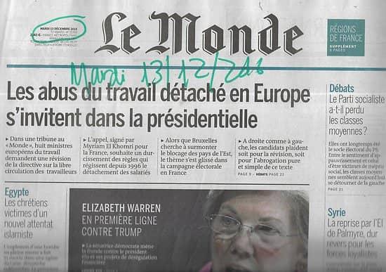 LE MONDE n°22368 13/12/2016  Abus du travail détaché/ Collège d'Europe/ Le Bauhaus/Régions de France