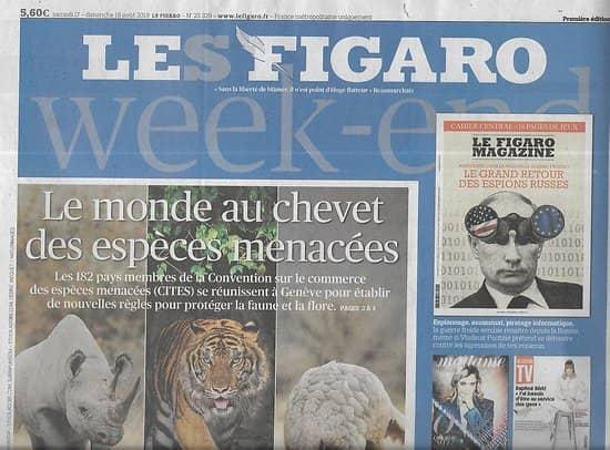 LE FIGARO n°23329 17/08/2019  Protéger les espèces menacées/ Pasolini/ Fanny Ardant/ La Chine, pirate des Caraïbes