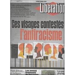 LIBERATION n°10844 04/04/2016  Ces visages contestés de l'antiracisme/ Douanier Rousseau/ Nuit Debout/ O.Dembélé/ Scandale des abattoirs