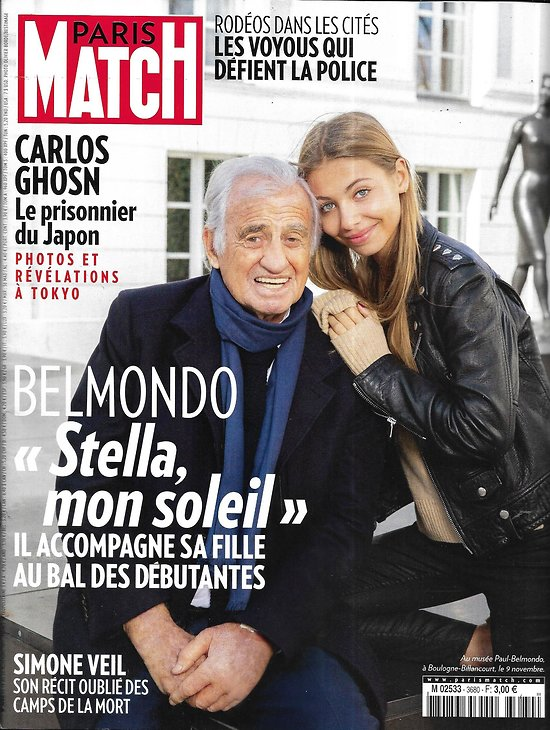 PARIS MATCH n°3680 14/11/2019  Belmondo & Stella/ Simone Veil/ Carlos Ghosn/ Indiens d'Amazonie/ Christophe Maé/ Pollution plastique