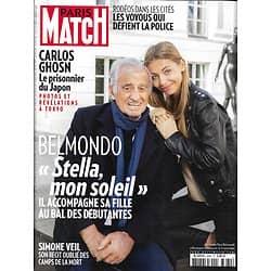 PARIS MATCH n°3680 14/11/2019  Belmondo & Stella/ Simone Veil/ Carlos Ghosn/ Indiens d'Amazonie/ Christophe Maé/ Pollution plastique