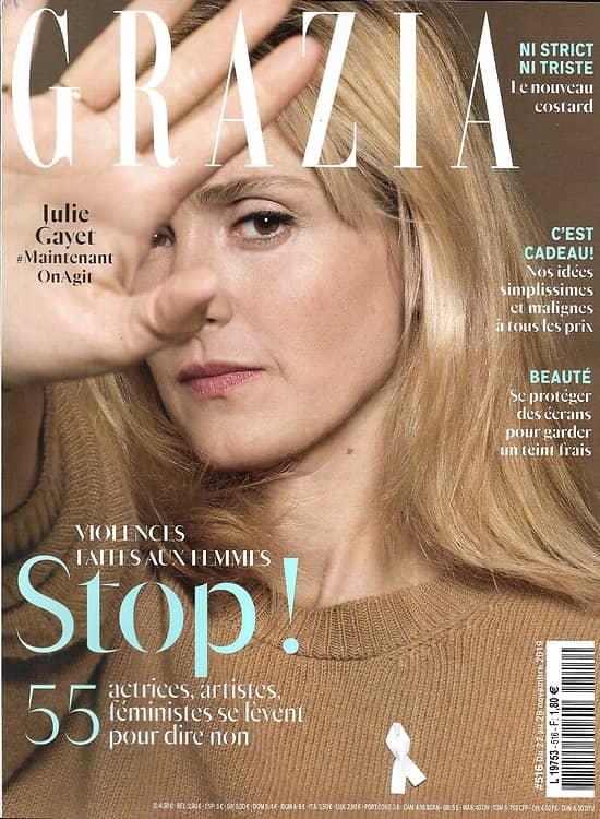 """GRAZIA n°516 08/11/2019  Stop aux violences faites aux femmes/ Julie Gayet/ Leïla Slimani/ Fromage artisanal/ Série """"Succession"""""""