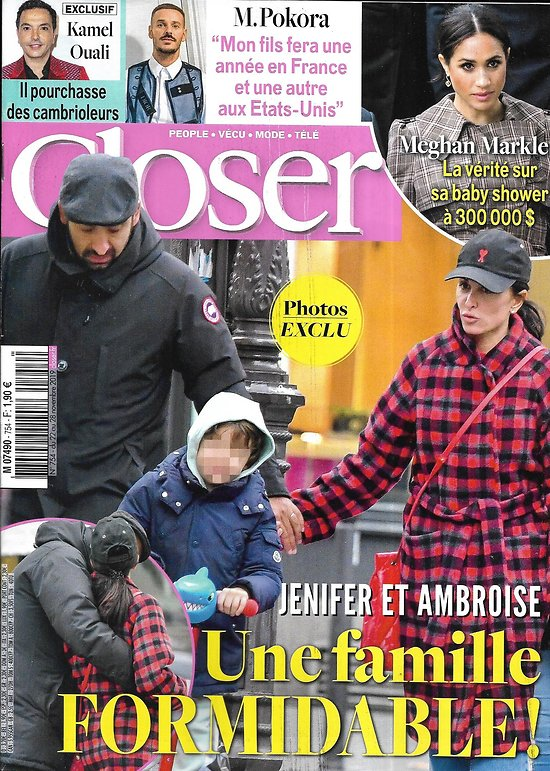 CLOSER n°754 22/11/2019  Jenifer/ Meghan Markle/ Beyoncé/ M.Pokora/ John Legend/ Yann Arthus-Bertrand