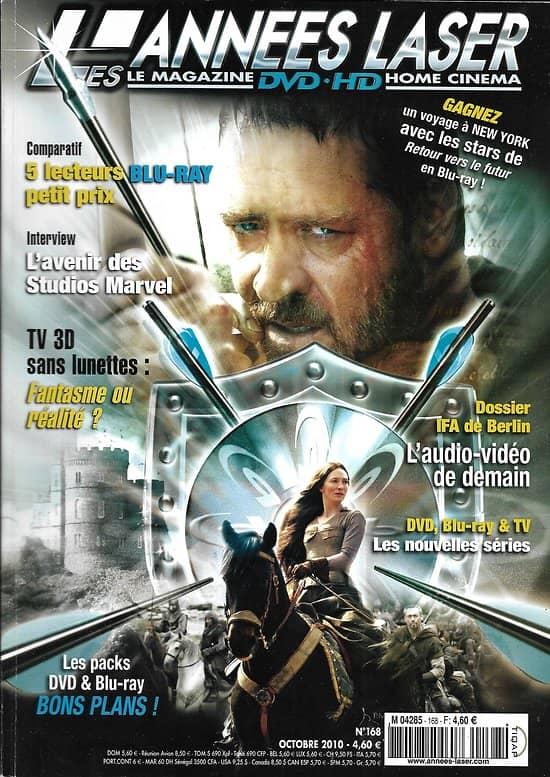 LES ANNEES LASER n°168 octobre 2010  Robin des Bois/ Morricone/ IFA Berlin/ Home Cinema/ Iron Man 2/ La belle et la Bête