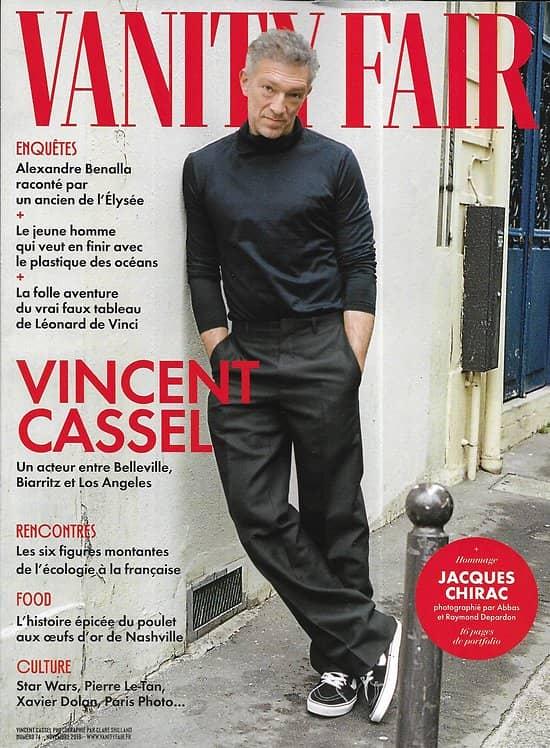 VANITY FAIR n°74 novembre 2019  Vincent Cassel/ Léonard de Vinci/ Jacques Chirac/ Star Wars/ Pollution plastique des océans/ Alexandre Benalla