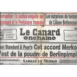 LE CANARD ENCHAINE n°4754 07/12/2011  L'accord Sarkozy-Merkel/ Testament de Bettencourt/ Bouygues & ministère de la Défense