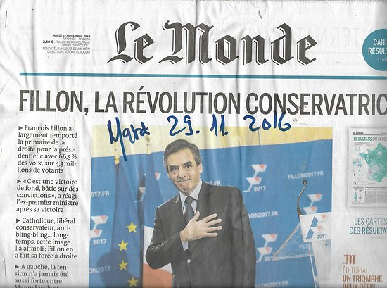 LE MONDE n°22356 29/11/2016  Fillon, la révolution conservatrice/ Résultats Primaire de la droite/ Cuba: l'après-Castro/ Que reste-t-il du castrisme?