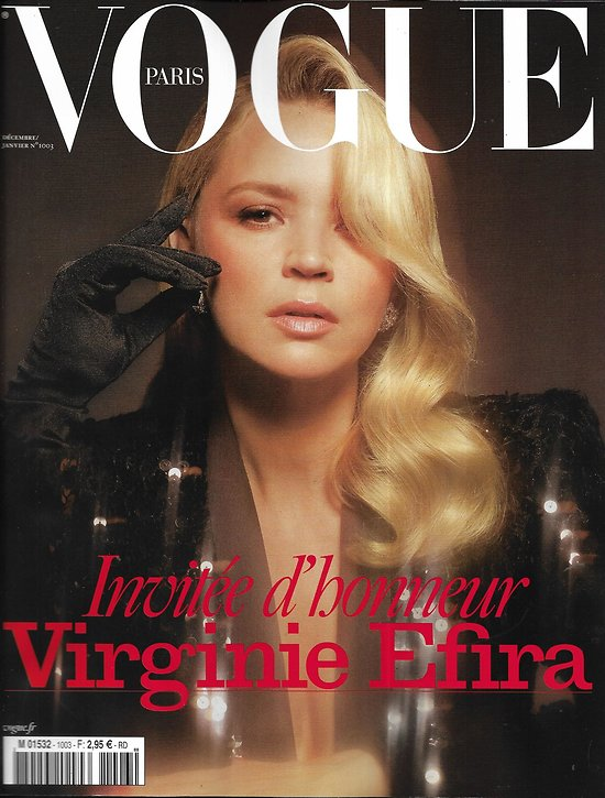 VOGUE n°1003 décembre 2019  Virginie Efira invitée spécial/ Edita Vilkeviciute/ Anna Ewers/ Edie Campbell