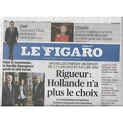 LE FIGARO n°21324 23/02/2013  Déficits: la France sous surveillance/ Italie: un vote crucial/ Emmanuelle Riva/ Simon Rattle/ Festival d'Aix