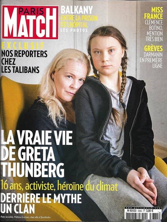 PARIS MATCH n°3685 19/12/2019  Greta Thunberg héroïne du climat/ Exclu: chez les talibans/ Miss France 2020/ Lagerfeld par Jondeau