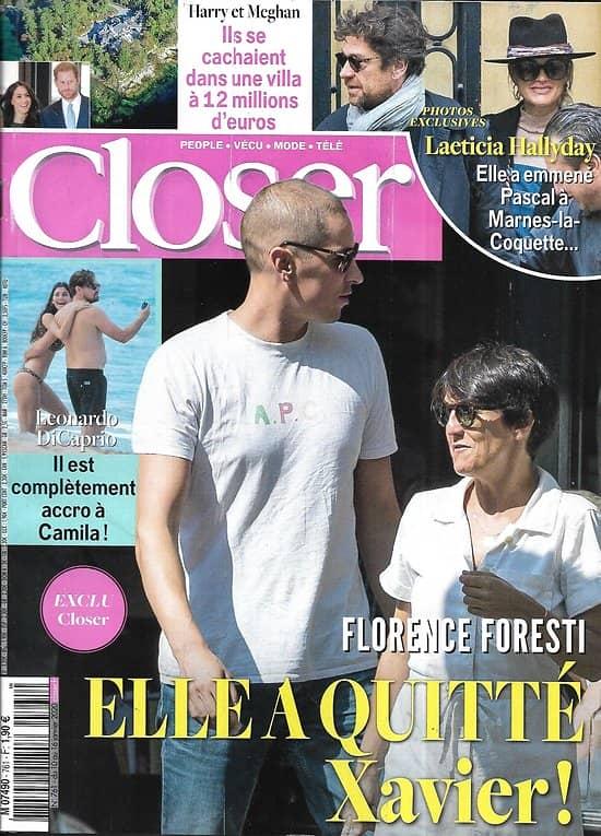 CLOSER n°761 10/01/2020  Florence Foresti/ Laeticia Hallyday/ Leonardo Dicaprio/ Harry & Meghan/ Golden Globes/ Nicole Kidman