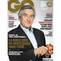 GQ n°34 décembre 2010  Robert De Niro/ Bible du high-tech/ Diane Kruger/ Extrémistes du bio/ Rama Yade/ Choisir son manteau