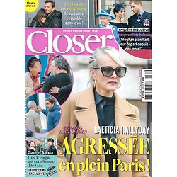 CLOSER n°762 17/01/2020  Laeticia Hallyday/ Meghan Markle/ Céline Dion/ Elsa Esnoult & Sébastien Roch/ Sylvie Tellier/ Brigitte Macron