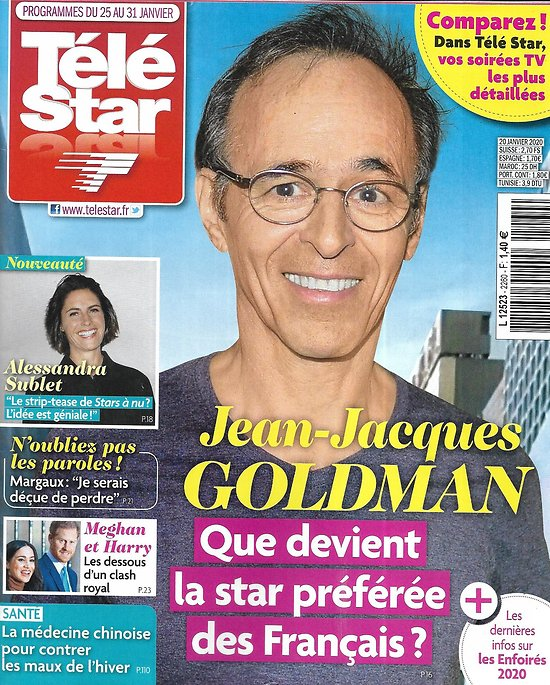 "TELE STAR n°2260 25/01/2020  Jean-Jacques Goldman/ Meghan & Harry/ ""Stars à nu""/ Charlize Theron/ Lorie Pester/ Marc Lavoine/ Elodie Gossuin"