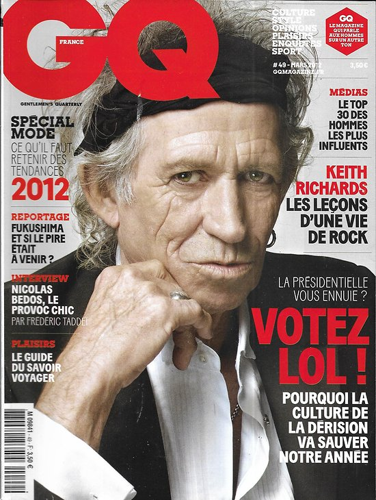GQ n°49 mars 2012  Keith Richards/ L'humour internet/ Nicolas Bedos/ Hommes les plus influents/ Guide du savoir voyager