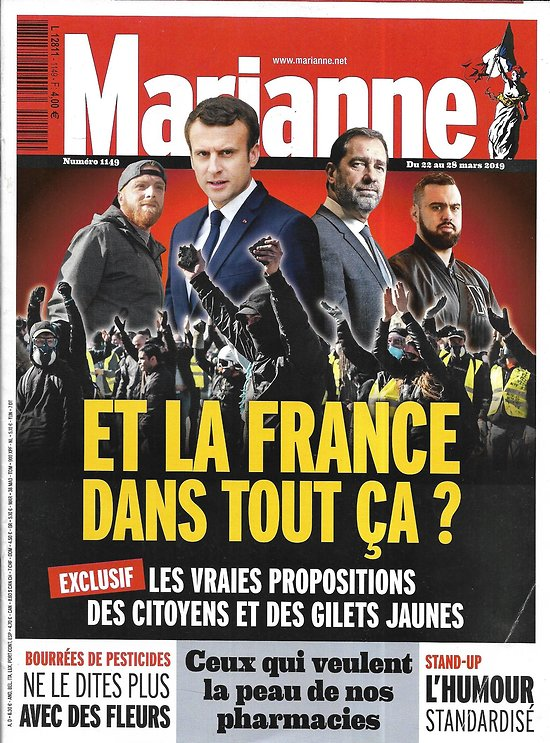 MARIANNE n°1149 22/03/2019  Et la France dans tout ça?/ Fin des pharmacies?/ L'autre visage de Londres/ L'humour standardisé