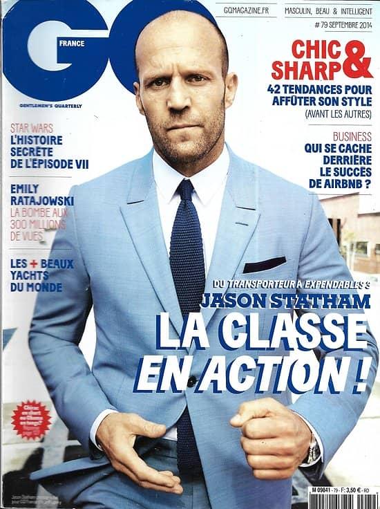 GQ n°79 septembre 2014  Jason Statham/ Star Wars Episode VII/ Emily Ratajkowski/ Economie du partage/ Alex Turner/ Légendes du surf