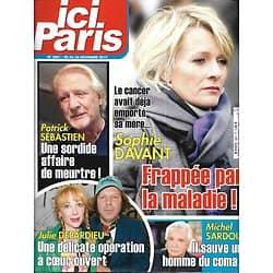 """ICI PARIS n°3881 20/11/2019  Sophie Davant/ Patrick Sébastien/ Michel Sardou/ Julie Depardieu/ Raymond Poulidor/ """"Le Bazar de la Charité"""""""