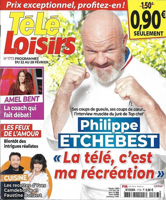 TELE LOISIRS n°1773 22/02/2020  Philippe Etchebest/ Amel Bent/ Jacques Prévert/ Camdeborde & Bollaert/ Robert Conrad