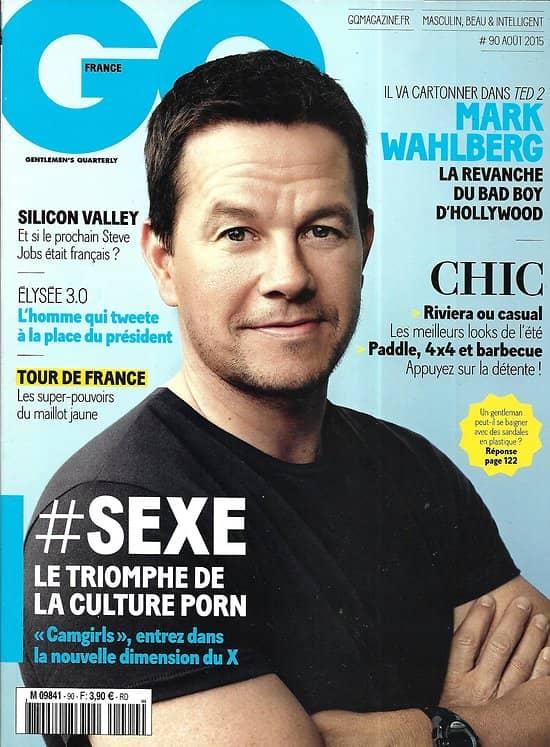"GQ n°90 août 2015  Mark Wahlberg/ Triomphe culture porn/ Saga ""Retour vers le futur""/ Florent Manaudou/ Bobby Cannavale"