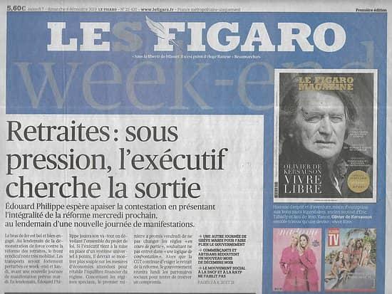 LE FIGARO n°23425 07/12/2019  Réforme des retraites/ Crise en Algérie/ Thérapies géniques/ Contestation chilienne/ Taxe Gafa