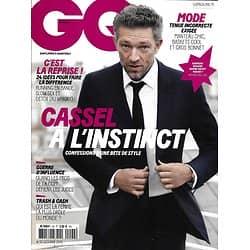 GQ n°92 octobre 2015  Vincent Cassel/ Rentrée stylée/ Armani & Hollywood/ Philippe Petit/ Gal Gadot