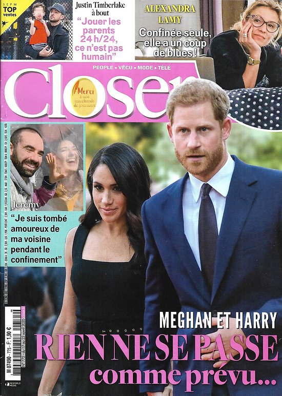 CLOSER n°775 17/04/2020  Meghan & Harry/ Alexandra Lamy/ Justin Timberlake/ Lady Gaga/ Kate Beckinsale