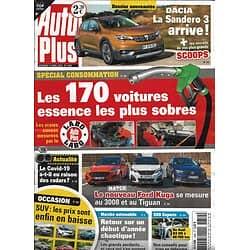 AUTO PLUS n°1650 17/04/2020  Voitures essence les plus sobres/ Ford Kuga/ Dacia Sandero 3/ SUV occasion