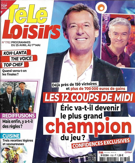 """TELE LOISIRS n°1782 25/04/2020  """"Les 12 coups de Midi""""/ Sophie Marceau/ Tony Curtis/ Claude de """"Koh-Lanta"""""""