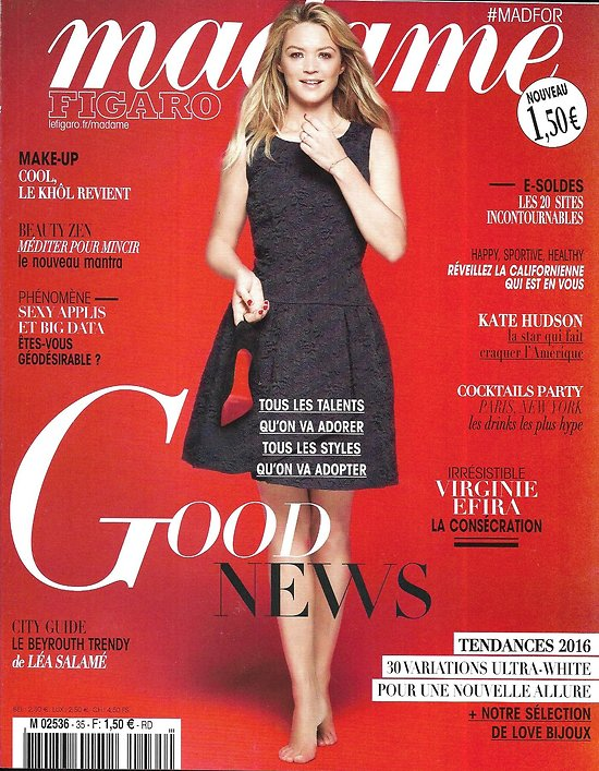 MADAME FIGARO n°35 Janvier 2016 Virginie Efira/ Good News/ Kate Hudson/ David Bowie/ Californiennes/ Joaillerie