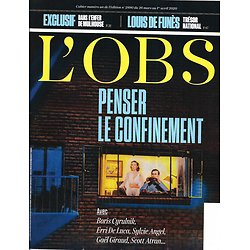L'OBS n°2890 26/03/2020  Penser le confinement/ Conseil scientifique/ Pénurie de masques/ L'enfer de Mulhouse/ Louis de Funès