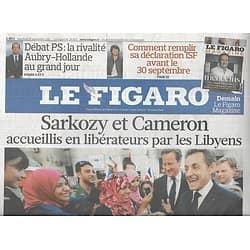 LE FIGARO n°20877 16/09/2011  Sarkozy & Cameron en Libye/ ISF/ Erosion du Latin/ Ralph Lauren/ Blouses & virus