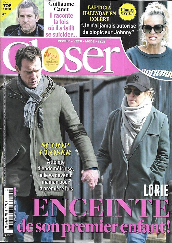 CLOSER n°779 15/05/2020  Lorie/ Guillaume Canet/ Laeticia Hallyday/ Irina Shayk/ Rose McGowan/ Juliette Binoche