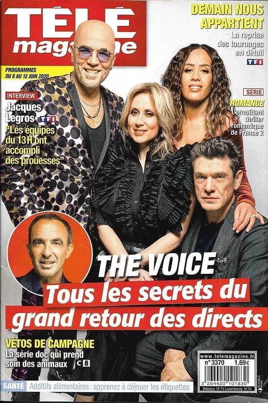 """TELE MAGAZINE n°3370 06/06/2020  """"The Voice"""" le grand retour (Fabian, Obispo, bent & Lavoine)"""