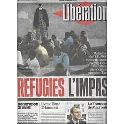 LIBERATION n°10859 21/04/2016  Réfugiés: l'impasse/ Macron favori?/ Dashiell Hammett/ Génération 21 Avril