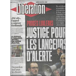 LIBERATION n°10862 25/04/2016  Luxleaks: justice pour les lanceurs d'alerte/ EDF/ Armée chinoise/ Dupraz
