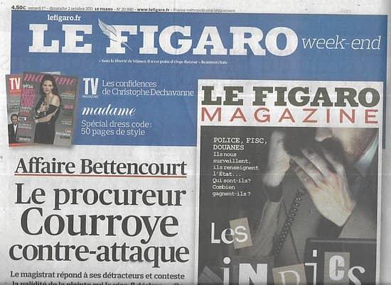 """LE FIGARO n°20890 01/10/2011  Affaire Bettencourt/ Fashion Week/ Toscan du Plantier/ Renault électrique/ """"The Big bang Theory""""/ Le yachting de croisière"""