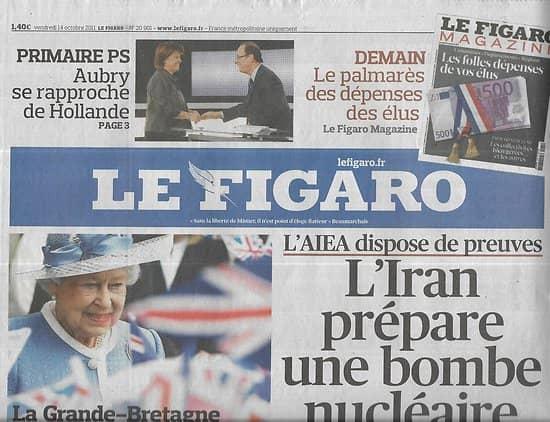 LE FIGARO n°20901 14/10/2011  Nucléaire militaire iranien/ Blackberry/ Guerre des drones/ George Harrison/ Epargne chinoise