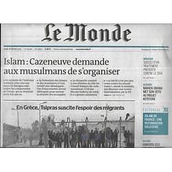LE MONDE n°21807 26/02/2015  Grèce: l'espoir des migrants/ Réforme du culte musulman/ Hervé Télémaque/ Umberto Eco